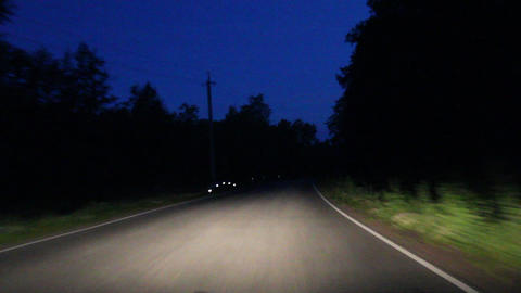 night asphalt road from a moving car Stock Video Footage