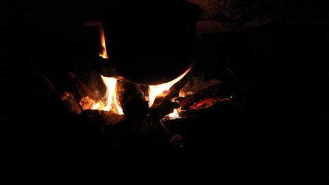 Night Bonfire Ember Stock Video Footage