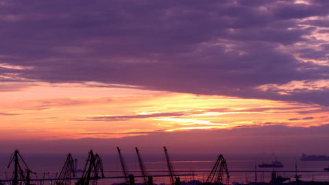 sunrise in the harbor of Odessa, Ukraine (Time Lapse) Stock Video Footage