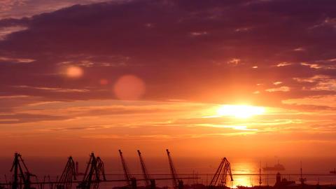 sunrise in the harbor of Odessa, Ukraine (Time Lapse) Stock Video Footage