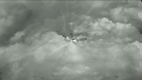 fast flying through storm clouds & power rays in... Stock Video Footage