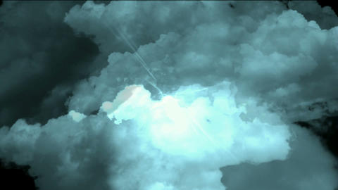 fast through storm clouds & dazzling lightning in... Stock Video Footage