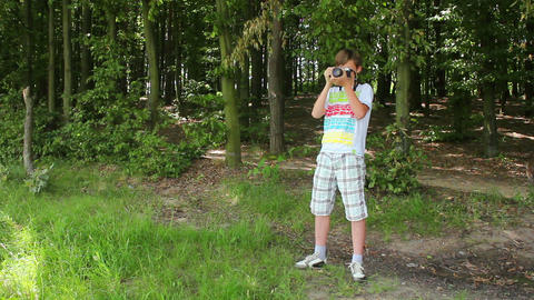 Boys in forest this photo 2 Stock Video Footage