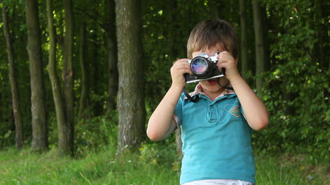 Boys in forest this photo 6 Stock Video Footage