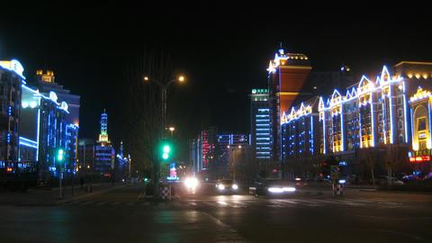Heihe City Night Traffic Timelapse 03 Stock Video Footage