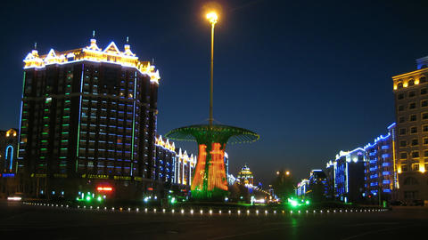 黑河 Heihe City Night Traffic Timelapse 05 Footage