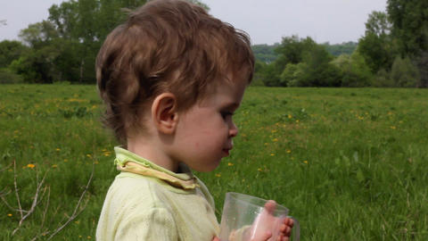 child eats cucumber on summer lawn Stock Video Footage