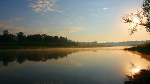 morning landscape with sunrise over river Stock Video Footage