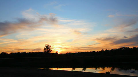 timelapse with sunset on river Stock Video Footage