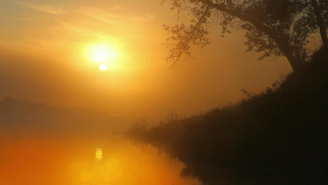 landscape with sunrise over river Stock Video Footage