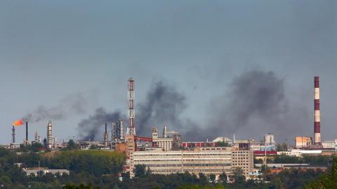 black smoke on refinery plant Stock Video Footage