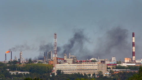 black smoke on refinery plant Stock Video Footage