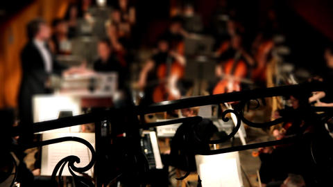 view on orchestra in theatre Stock Video Footage