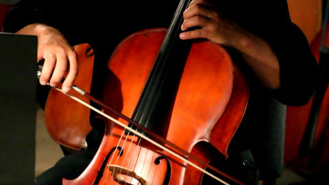 close-up view on violoncello in orchestra Stock Video Footage