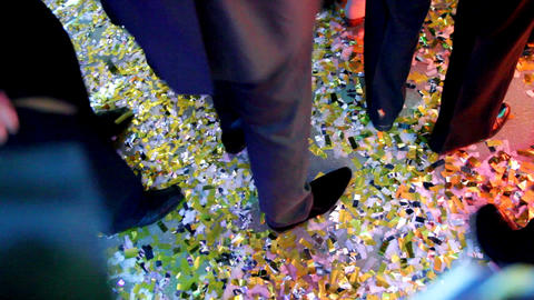 dancing feet of men at party Stock Video Footage