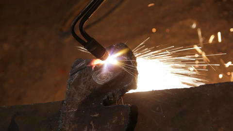 metall cutting with gas welding Stock Video Footage