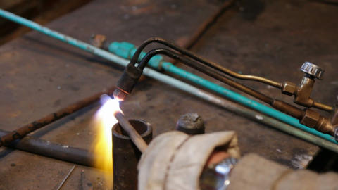 metall bend with gas welding Stock Video Footage