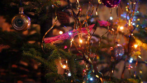 christmas fir with colored lightings - timelapse Stock Video Footage