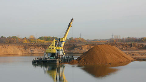 development sandpit with dredge - timelapse Stock Video Footage