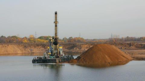 development sandpit with dredge - timelapse Stock Video Footage