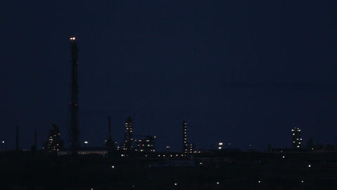 view on petrochemical factory at night Stock Video Footage