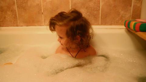 little girl bath Stock Video Footage