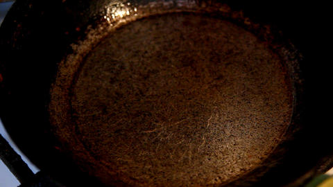 baking pancakes in a frying pan - timelapse Stock Video Footage