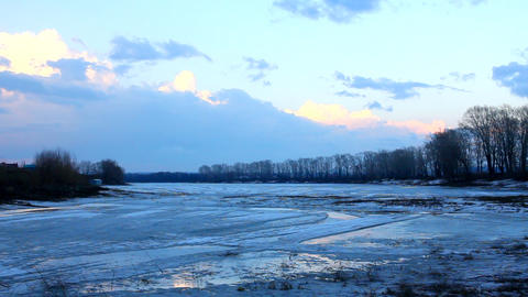 spring lake landscape with melting ice - timelapse Stock Video Footage
