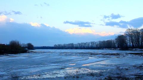 spring lake landscape with melting ice - timelapse Footage