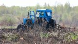 Tractor Plowing At Spring stock footage