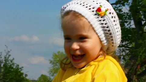 happy little girl outdoor Stock Video Footage