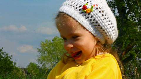 happy little girl outdoor Stock Video Footage