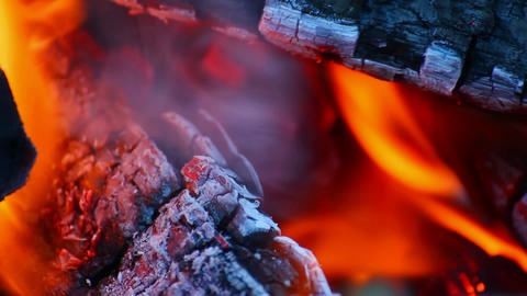 close-up view on bonfire flame Stock Video Footage