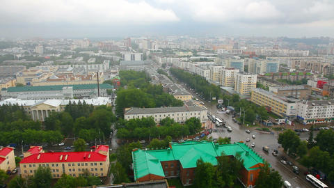 top view on the panorama of city - Ufa Russia time Stock Video Footage