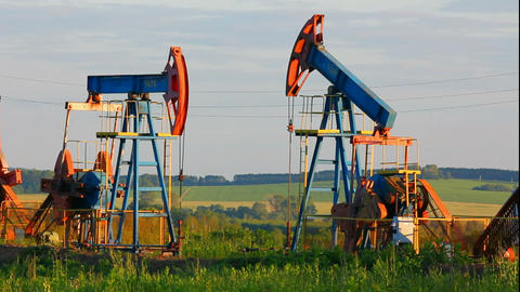 two working oil pumps Stock Video Footage