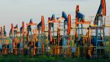 Row Of Many Working Oil Pumps stock footage