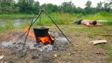 camping - kettle over campfire Footage