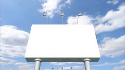 青空バックに白い看板が連続で向かって来る Stock Video Footage