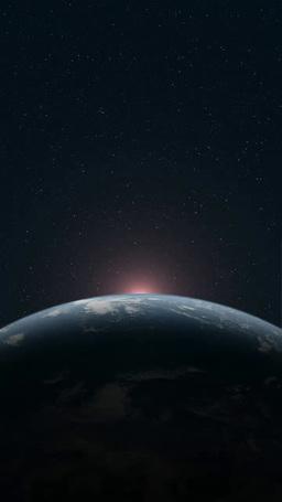 地球大気層と現れる太陽 タテ版 Footage
