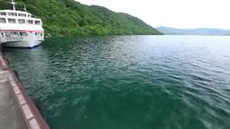 Lake towada and cruise ships Footage