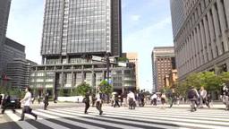 東京駅前横断歩道を歩く人々 Footage