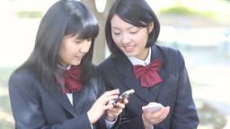 携帯電話を見ながら楽しそうに会話をする女子高校生 ภาพวิดีโอ