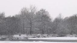 雪降る日の冬の川 Footage