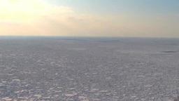 流氷と港と夕陽 Footage