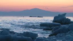 オホーツク海の流氷と朝焼け Footage