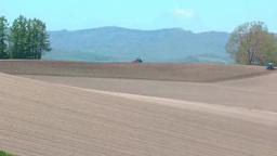 丘の畑を耕すトラクター Footage