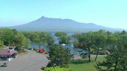 エゾヤマツツジ咲く大沼公園と駒ヶ岳 Footage