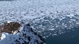 知床西海岸のフレペの断崖と流氷 Footage
