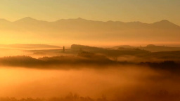 Hills And The Tokachi Mountain Range In Morning Mist stock footage