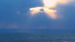 夕景の光芒と海 Footage